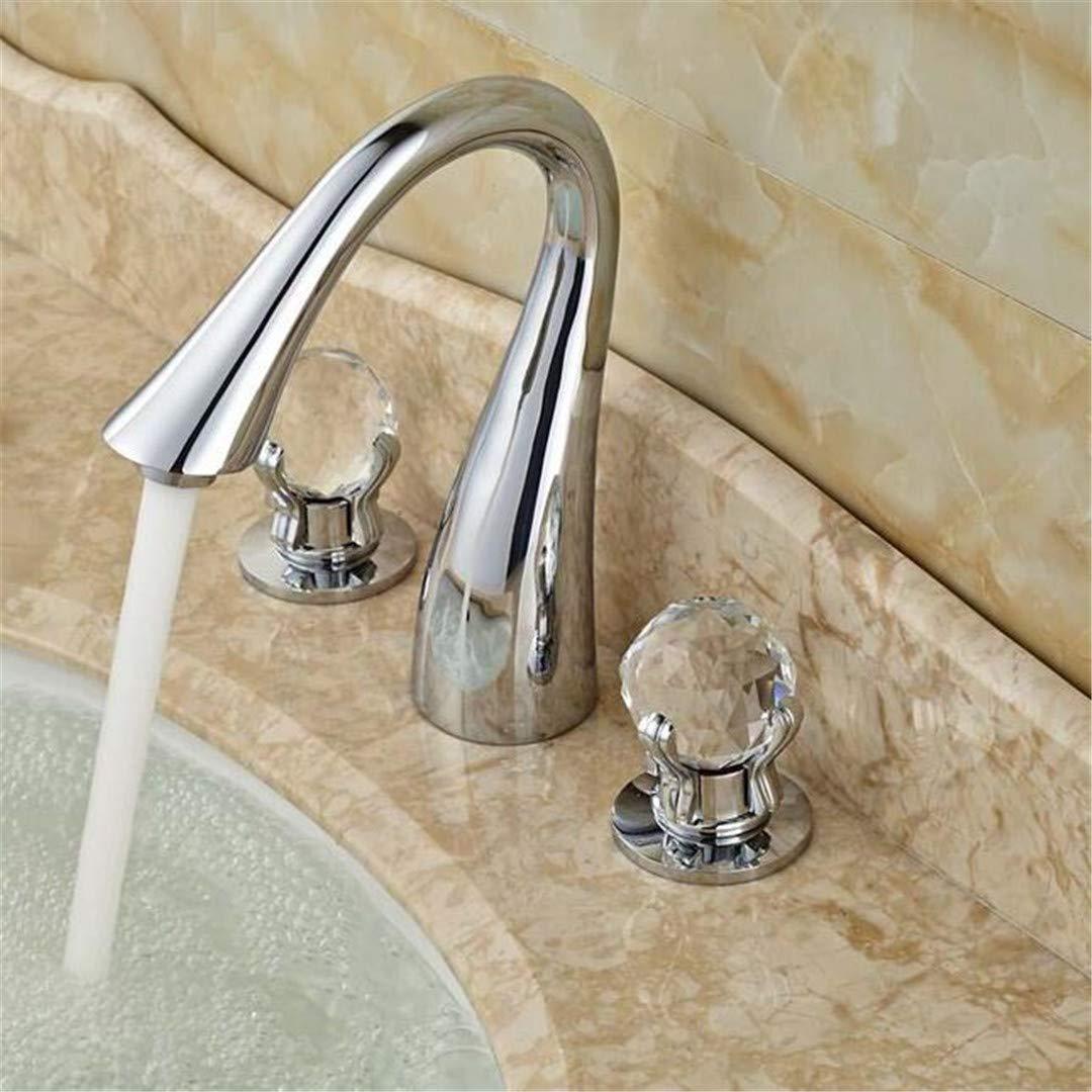 Waschtischarmatur Für Bad Poliert Chrom Doppelgriff Basin Wasserhahn Deck Montiert Kristall Knopf Badezimmer Badewanne Waschbecken Mischbatterien 3 Löcher
