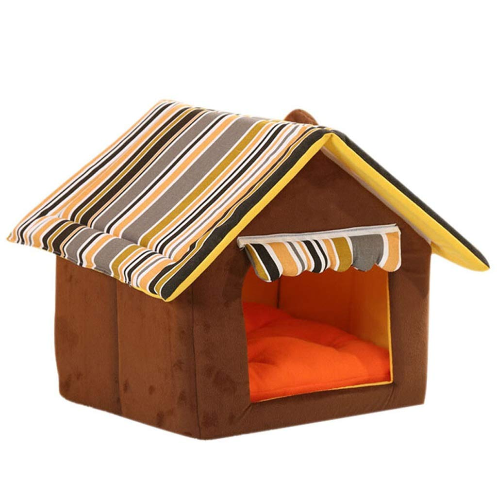 Brown MKennel, Dog House Small Medium Dog Pet Nest Mat Cat Litter Winter Washable Dog Bed Room Five colors Optional (color   Brown, Size   M)