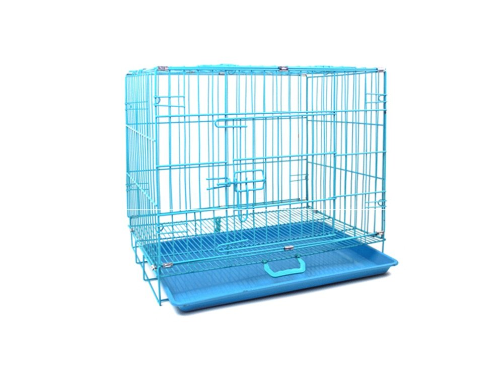 Blue 62 *42 *50cmZSSHJ Dog gabbie, Cani Collapsible Piccoli Pet Cagne Encryption Iron Cage Fold 85 *68 *60cm (Colore: Argento, Dimensione: 50 *34 *41cm)