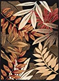 Tropical Area Rugs Universal Rugs Transitional Botanical 5 ft. x 7 ft. Area Rug , Black