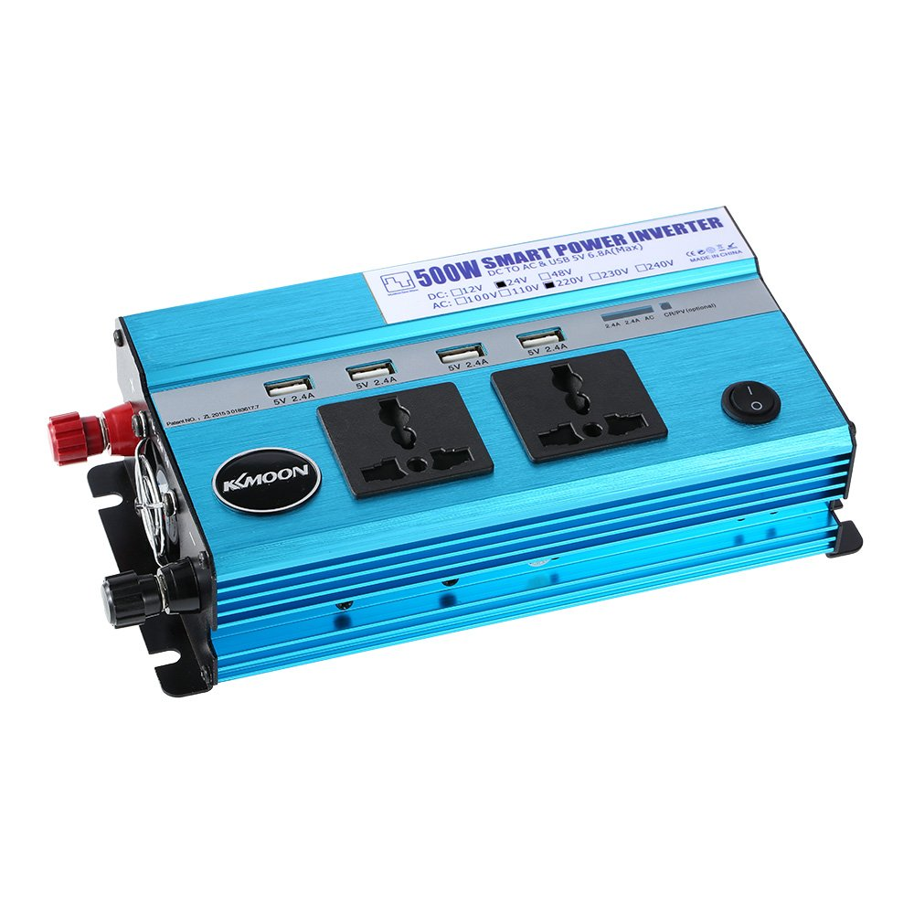 KKmoon 500W Inversor de Corriente para Coche, DC 24V a AC 220V, 50Hz con