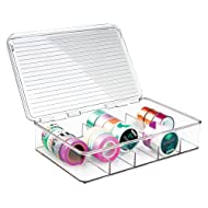 mDesign Plastic Art Supplies, Crafts, Crayons and Sewing Stacking Storage Organizer Box Container Holder Tidy with lid for organizing Washi Tapes Small Marker Ribbons Trims Beads - Divided, Clear