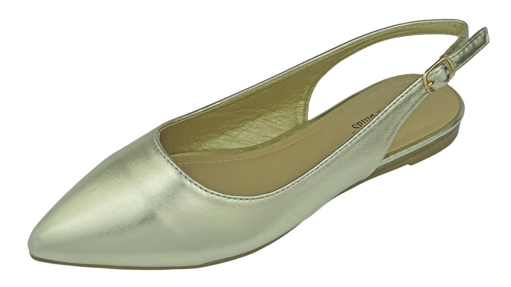 Pierre Dumas Women's Slingback Abby-14 Vegan Leather Pointed Toe Slingback Fashion Dress Flats Shoes B01N0L9OYE 8.5 B(M) US|Gold