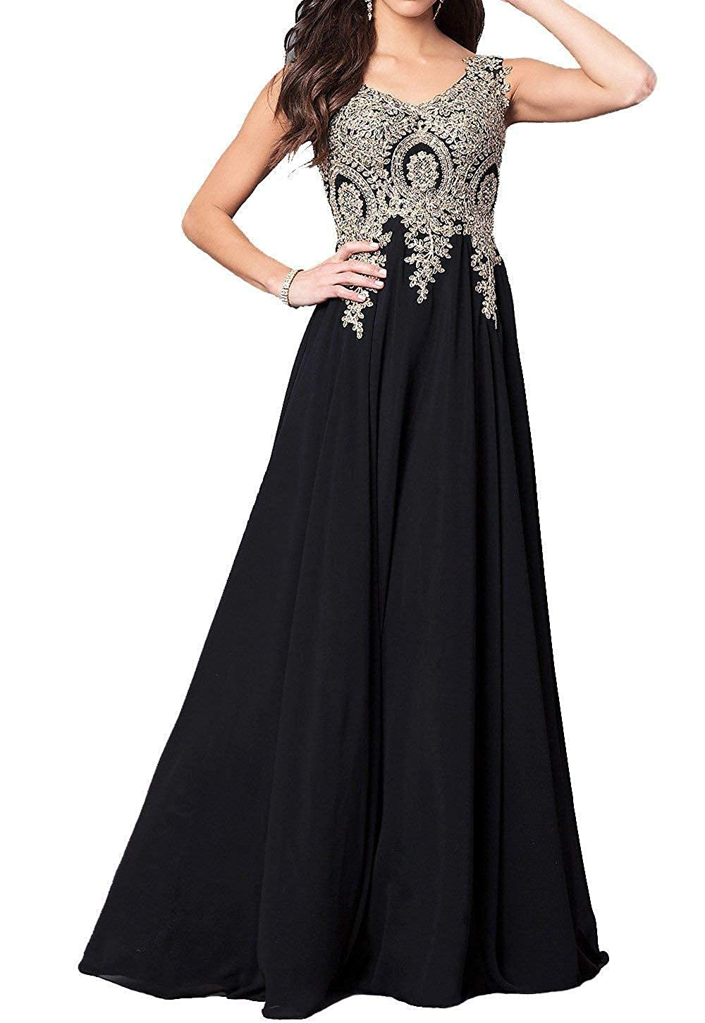 Black GMAR Beaded Appliques Prom Dresses A Line V Neck Open Back Long Formal Gowns