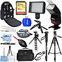 Nikon D810 D750 D500 D5600 D7100 D7200 MEGA ACCESSORY BUNDLE With Flash, Backpack, LED Light, Tripod, Monopod PLUS Much More