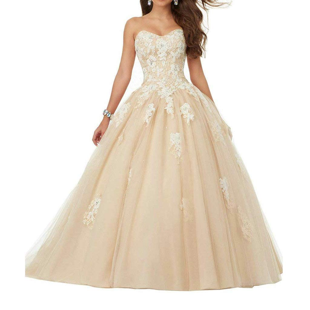 Champagne Vantexi Women's Sweetheart Lace Applique Quinceanera Dress Sweet 16 Ball Gown Prom Dress