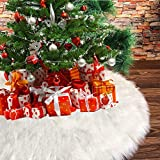 Christmas Tree Skirts, NTMY 36 Inch Faux Fur White Tree Skirts for Xmas Year Party Holiday Home Decorations
