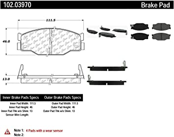 Centric Parts 102.02350 102 Series Semi Metallic Standard Brake Pad