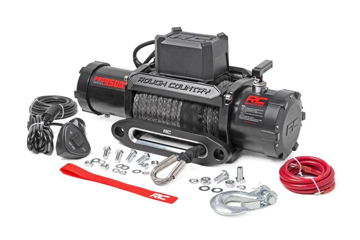 Rough Country PRO9500S - 9 500-Lb PRO Series Electric Winch w Synthetic Rope