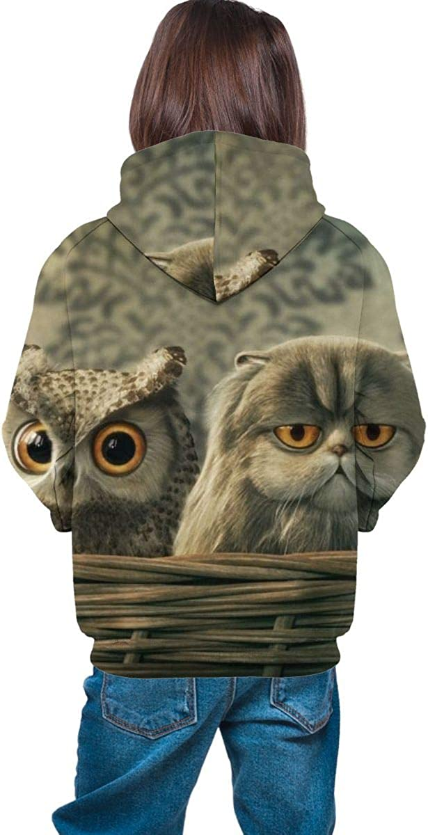 3D Print Pullover Hoodies with Pocket Four Owls Soft Fleece Hooded Sweatshirt for Youth Teens Kids Boys Girls 7-20 Years
