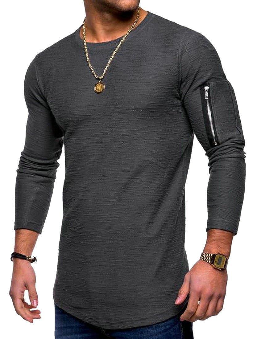 Pcutrone Men Long Sleeve Crewneck Zipper-Trim Hipster Casual Splice T-Shirts