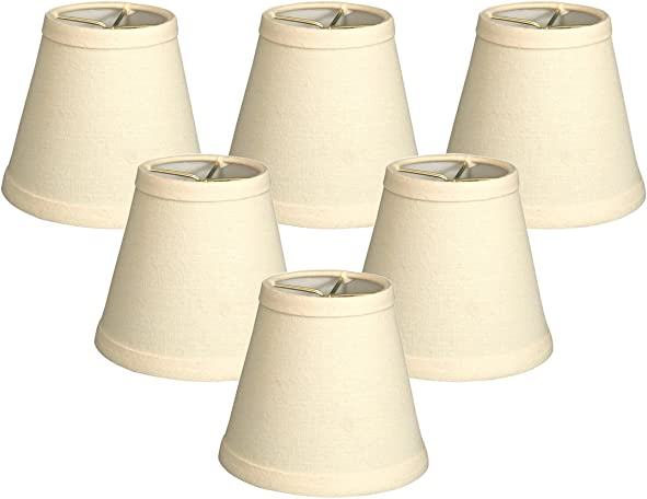 Royal Designs CS-987-5LNEG-6 6 Pack Hardback Empire Chandelier Lampshade, 3 x 5 x 4.5 , Linen Eggshell