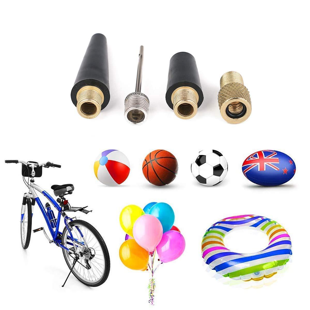 4Pcs Set Flammi Bike Tire Inflator Ball Pump Needle Nozzle Adapter Kit Sports