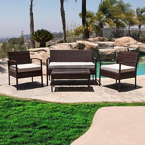 Modern Brown Rattan Wicker Cushions Patio Set with Tempered Glass Top Table and Steel Frame - Includes Modhaus Living Pen (Martha Sets Patio Living)