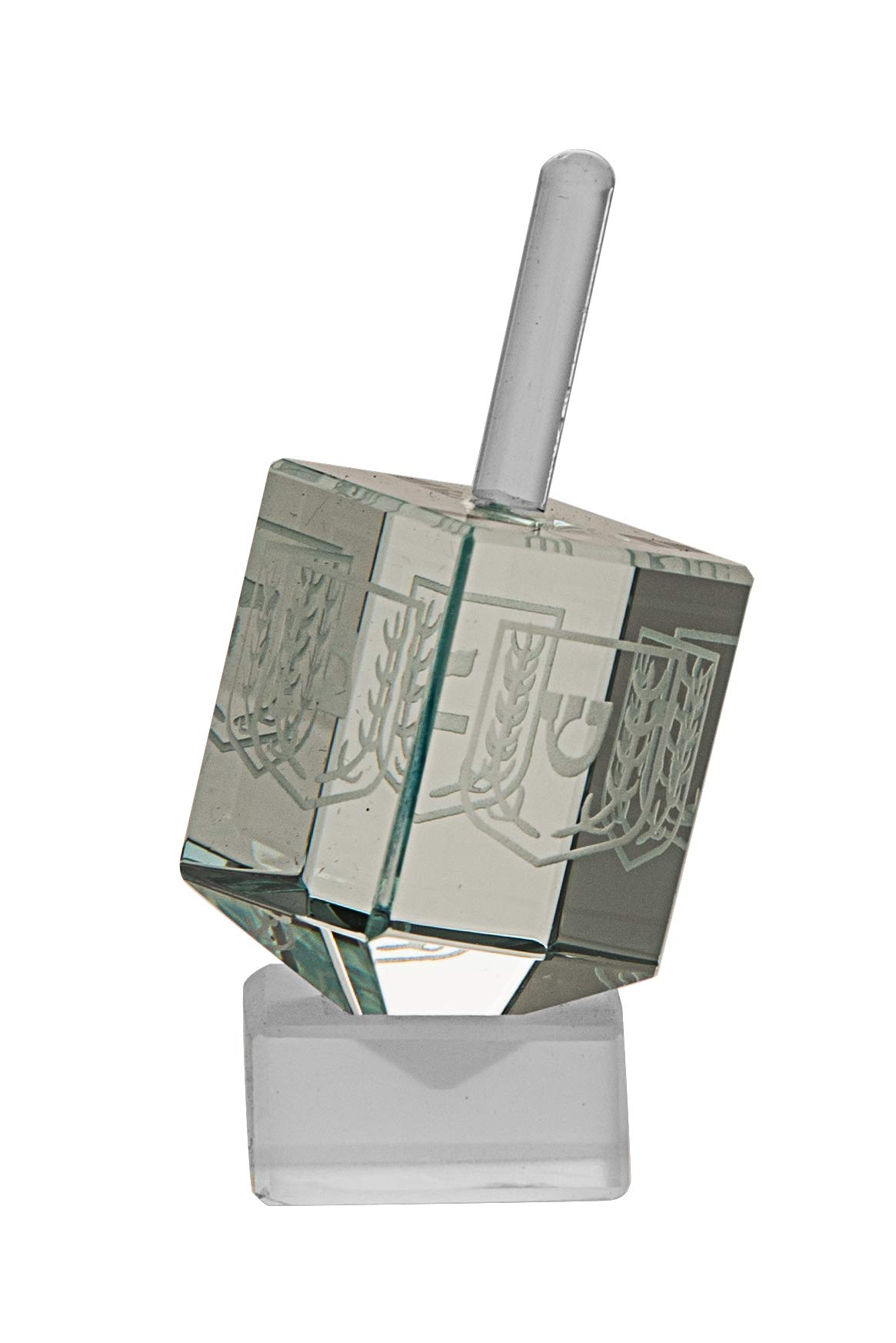 Crystal Pale Green Dreidel - Collectible - Etched Hebrew Letters-by Copa Judqaica