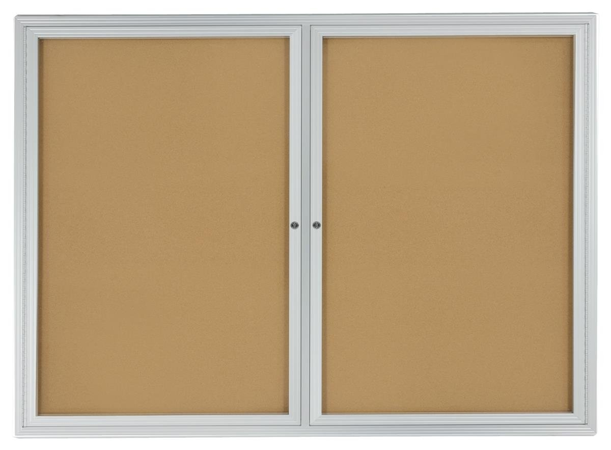 Displays2go 48 x 36 Inches Enclosed Bulletin Board for Wall Mount with 2 Locking Swing-Open Doors (BBSWNG43SV) by Displays2go