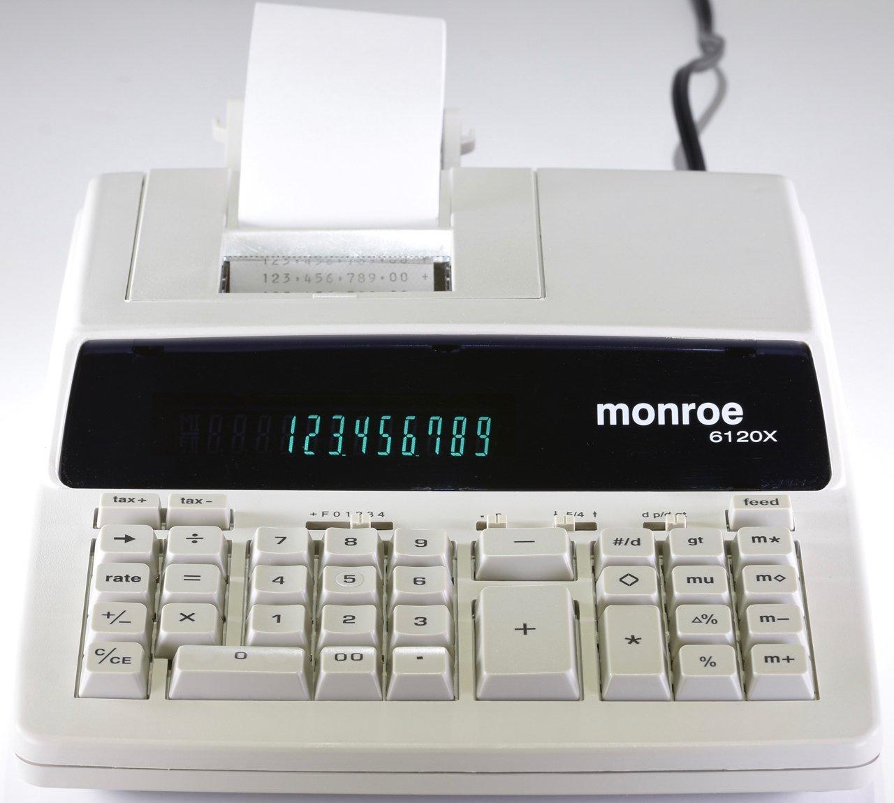 Genuine Monroe Ivory 6120X 12-Digit Print/Display Business Medium-Duty Calculator