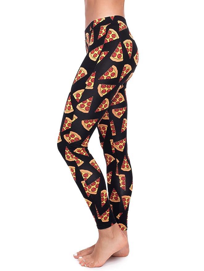 793e1645588ec1 Amazon.com: Pizza Leggings - Pizza Tights for Women (Small) Black: Clothing