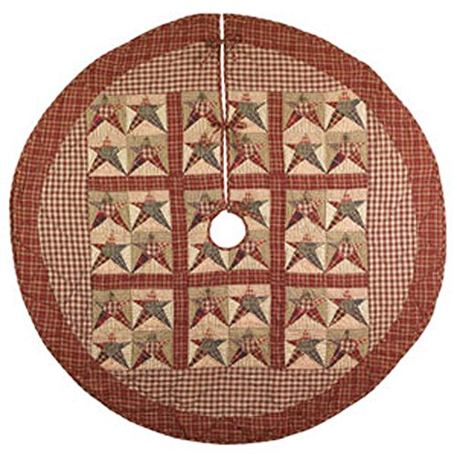 48 inch Cranberry Red and Green Rebecca's Star All Cotton Christmas Tree Skirt