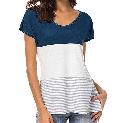 b6351b7800e6c Amazon.com: YANG-YI Summer Tops, Clearance Hot 2018 Women Short Sleeve  Fashion Tops Block Stripe T-Shirt Girl Casual Blouse: Clothing