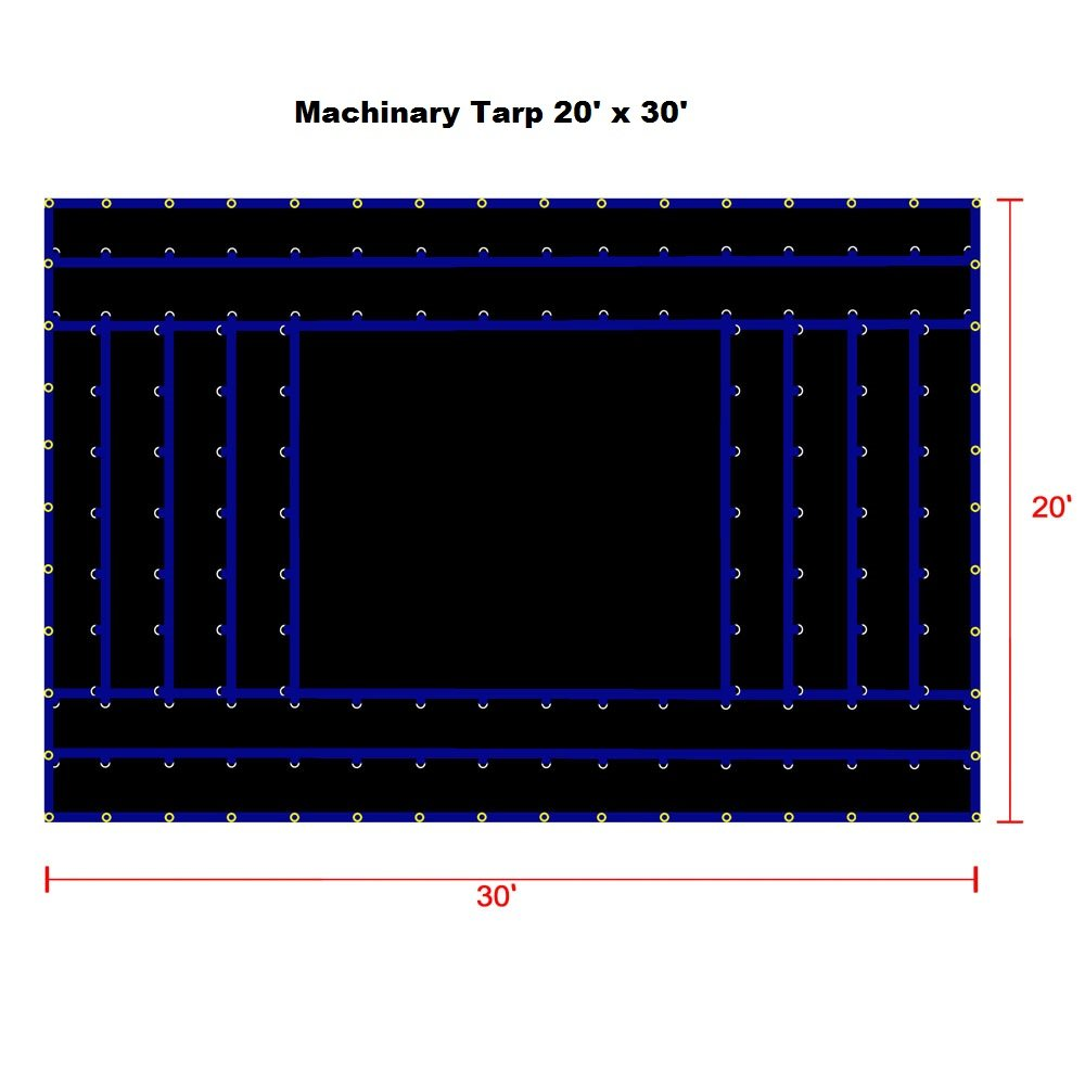 Xtarps-20' x 30' Flatbed Truck Tarp - Light Weight Machinery Tarp, Black