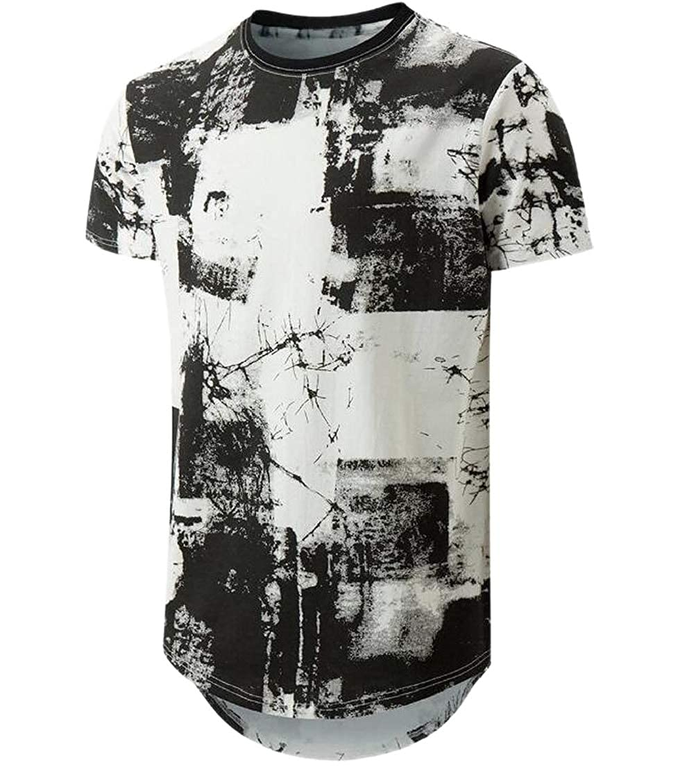 CYJ-shiba Mens Curved Hem Short-Sleeve Print Crewneck T-Shirt Blouse