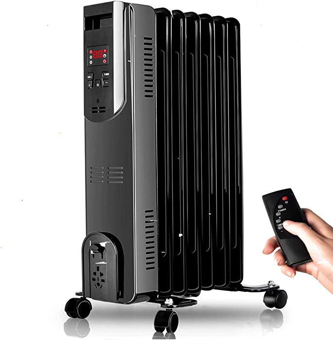 Electric Radiator Heater - 1500W Oil Space Heater with Remote Control, 250 Sq Ft Coverage, Tip-Over & Overheating Protection, Oil Heater Smart Digital Thermostat, Full Room Heater Indoor Portable
