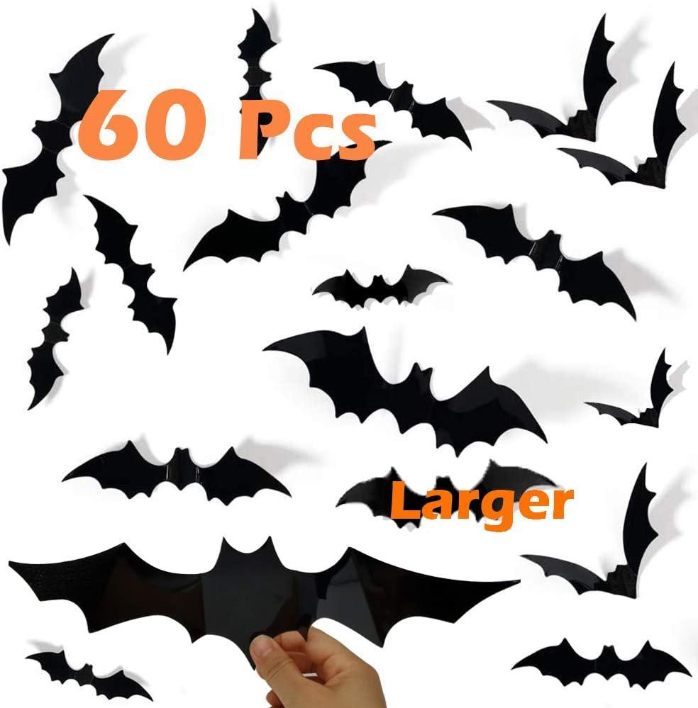Halloween Decorations Bats Décor , 60 Pcs 3D PVC Paper Bats for Wall Decor Scary DIY Flying Bats Stickers , Halloween Indoor Decor Home Window Decoration Set