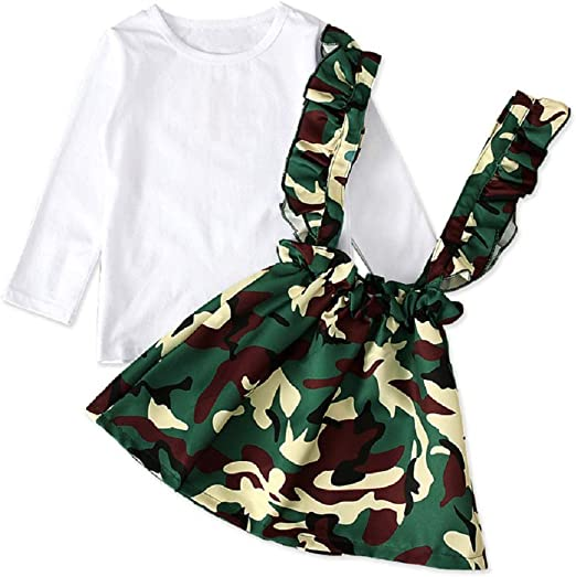 HBER Spring Fall Outfits for 2-7T Toddler Little Girls Long Sleeve Ruffles Shirt Floral Bell-Bottom Pants Clothes Sets