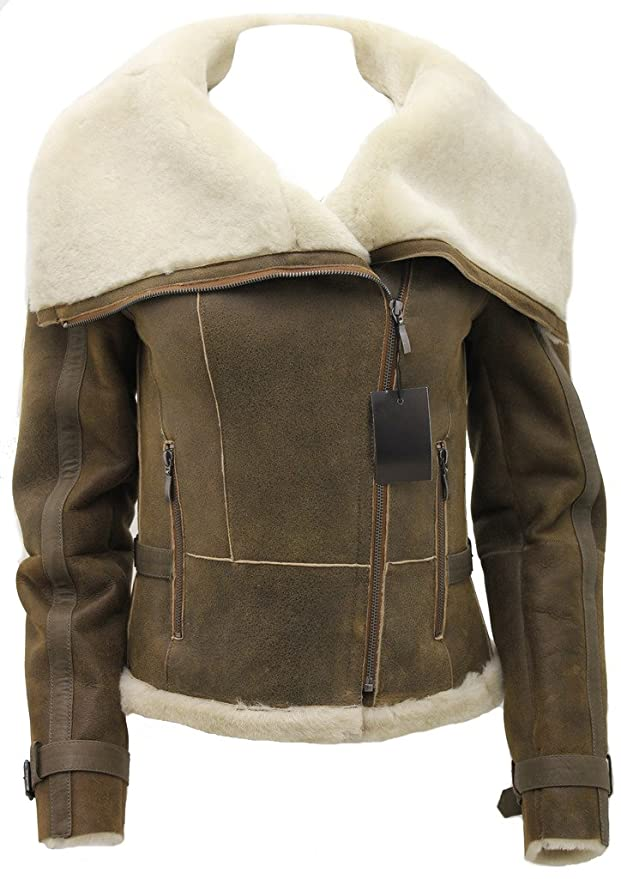 Womens Short Brown Merino Sheepskin Aviator Leather Jacket at Amazon Womens Coats Shop