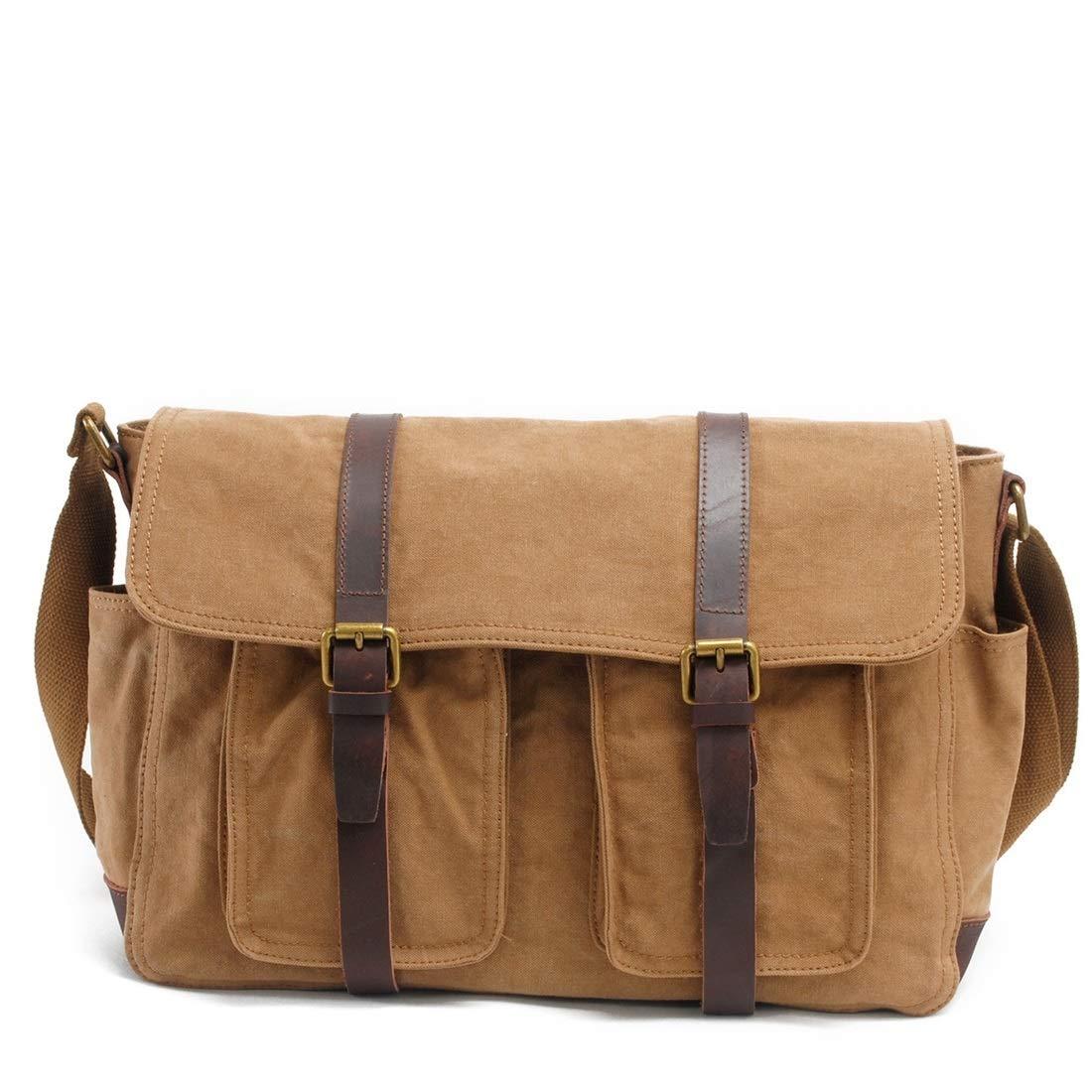 KRPENRIO Mens Bag Messenger Bag Canvas Shoulder Bags Travel Bag Man Purse Crossbody Bags for Work Business Color : Khaki
