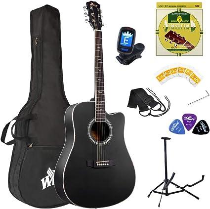 Winzz Guitarra Folk Acústica 4/4 Adulto Negra Para Principiantes ...