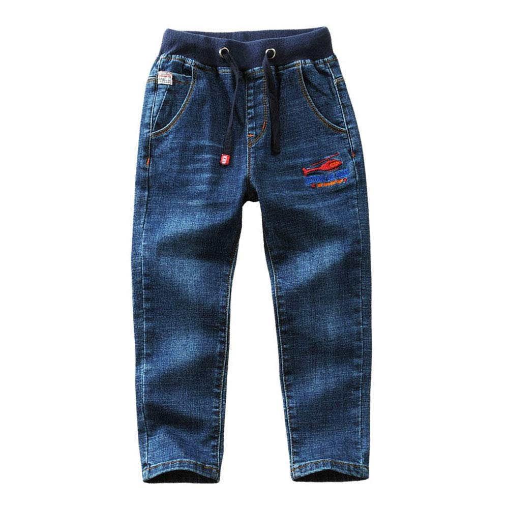 LAPLBEKE Kids Boys Jeans Drawstring Elastic Waist Denim Pants Blue Washed Skinny Trousers with Aircraft Embroidery