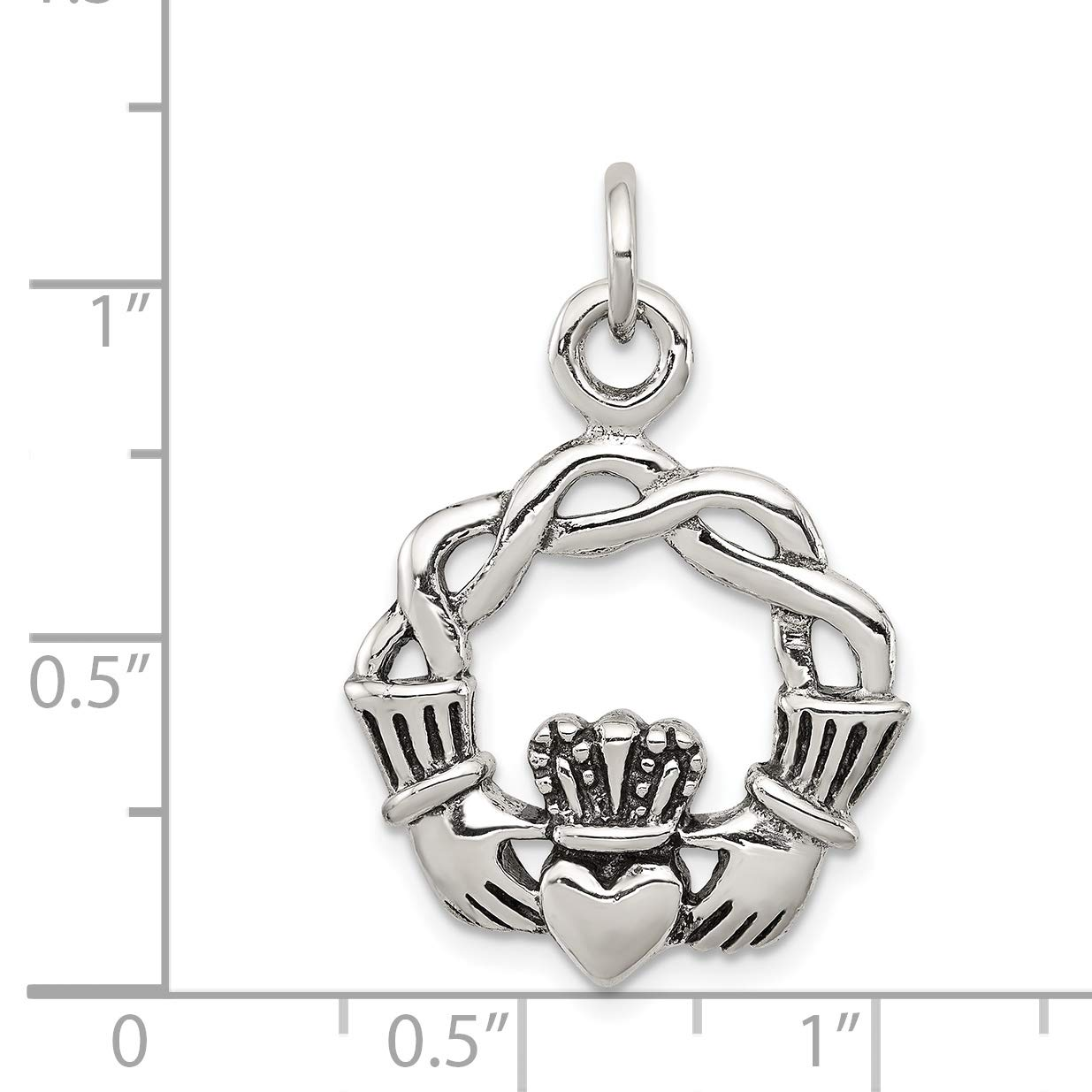 approximately 29 x 21 mm Mireval Sterling Silver Antiqued Claddagh Pendant