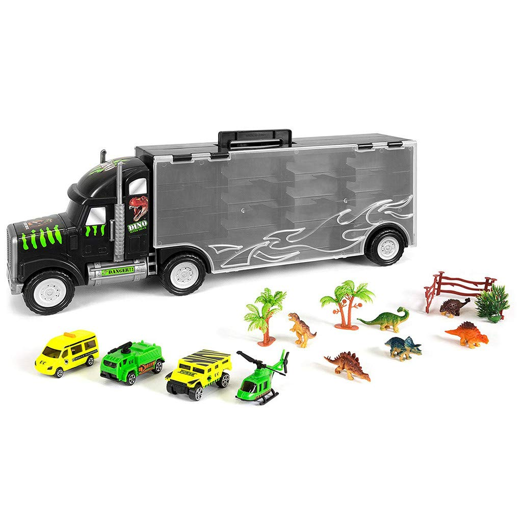 Sikye Big Size Transporter Car Dinosaur Transport Carrier 16-Piece Includes 6 Dinosaurs, 3 Cars, 3 Fences, 2 Trees, 1 Bush, and 1 Helicopter
