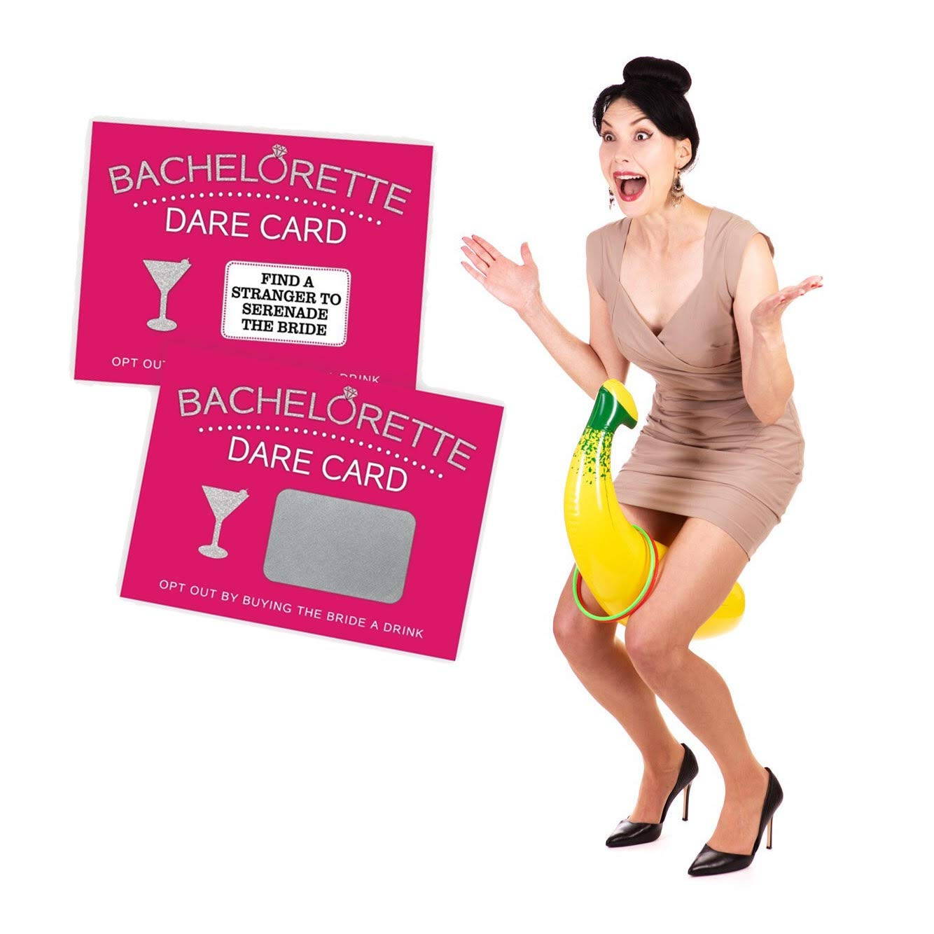 Bachelorette Party Games - Inflatable Banana Ring Toss & 20 Piece Dare Card Game Favors Decorations Set