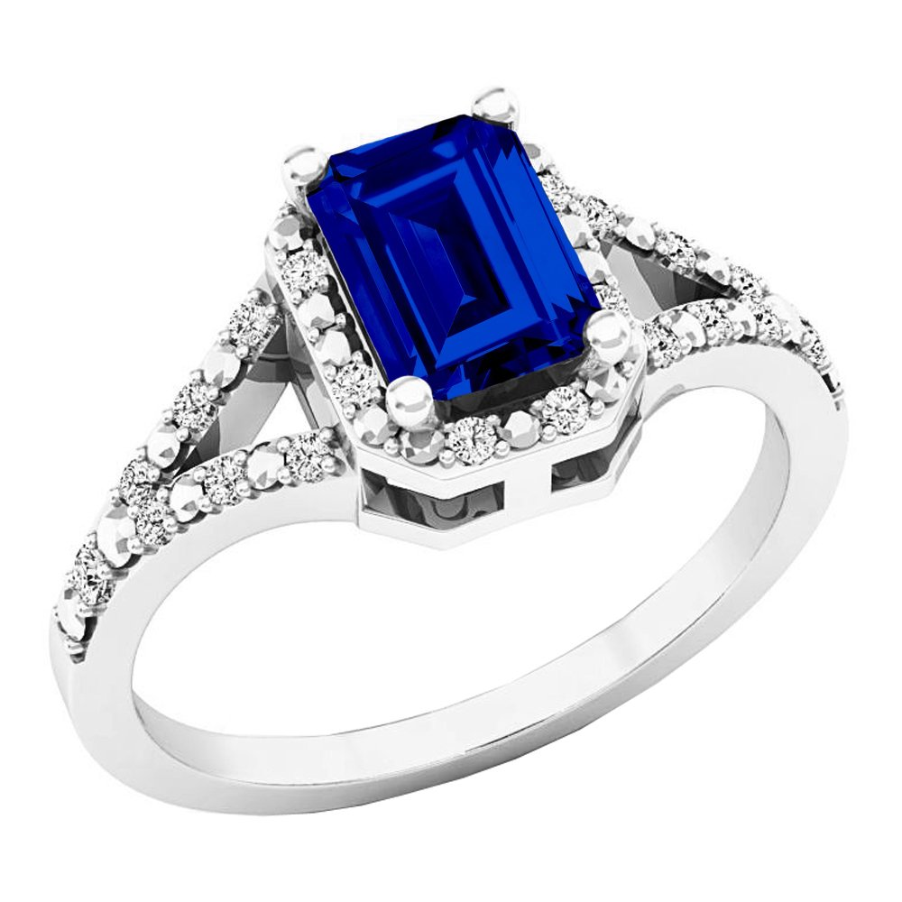 Sterling Silver 7X5 MM Lab Created Blue Sapphire & White Diamond Engagement Ring (Size 5.5)
