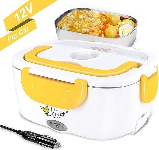 Fiambrera el/éctrica comida t/érmico Lunch Box Fiambreras bento Uso en coche el/éctrica con Bandeja extra/íble acero inoxidable Recipiente de comida t/érmico 12V 40W
