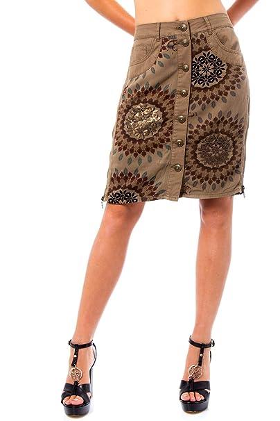Desigual Falda Mujer Verde: Amazon.es: Ropa y accesorios