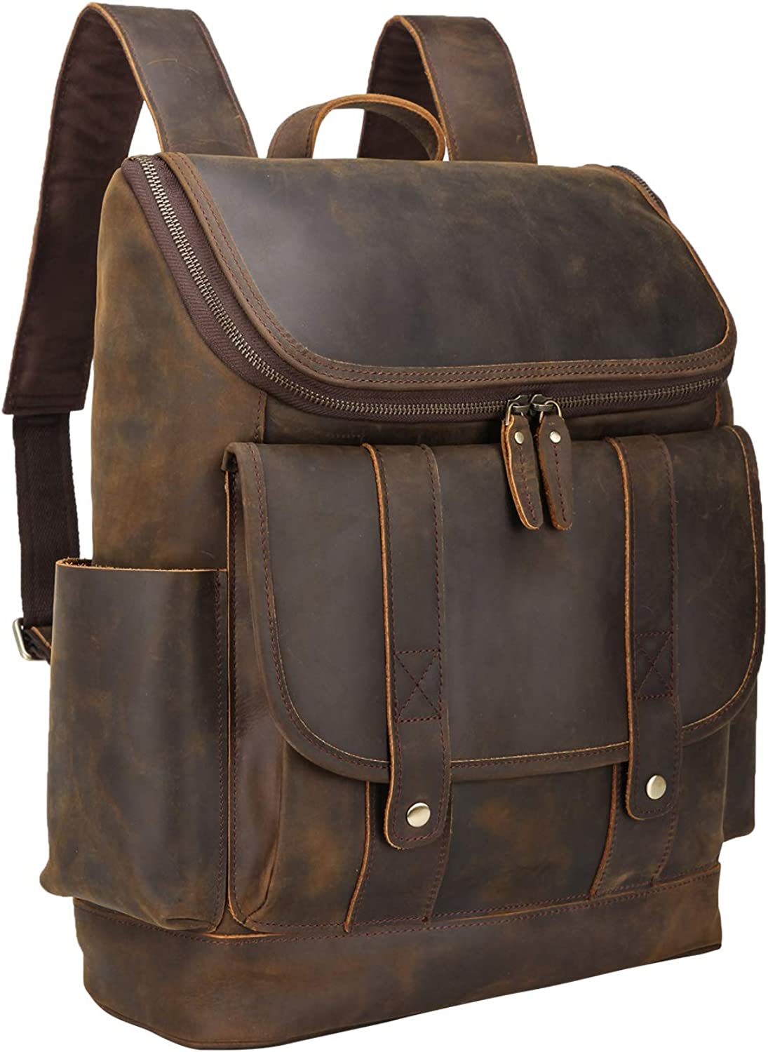 Texbo Vintage Full Grain Cowhide Leather 15.6 Inch Laptop Backpack Shoulder Travel School Bag with YKK Metal Zippers