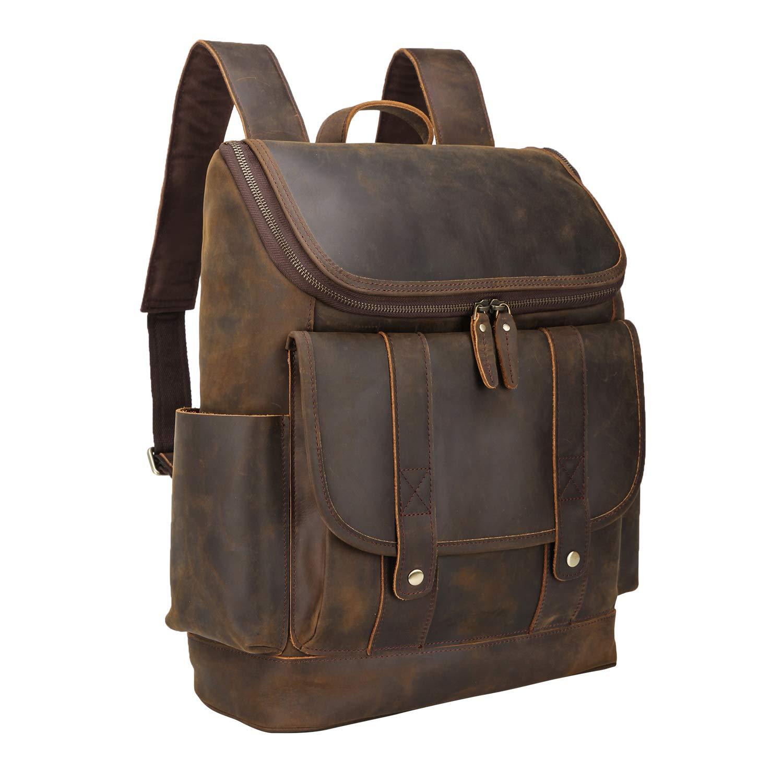 Texbo Vintage Full Grain Cowhide Leather 15.6 Inch Laptop Backpack Shoulder Travel School Bag