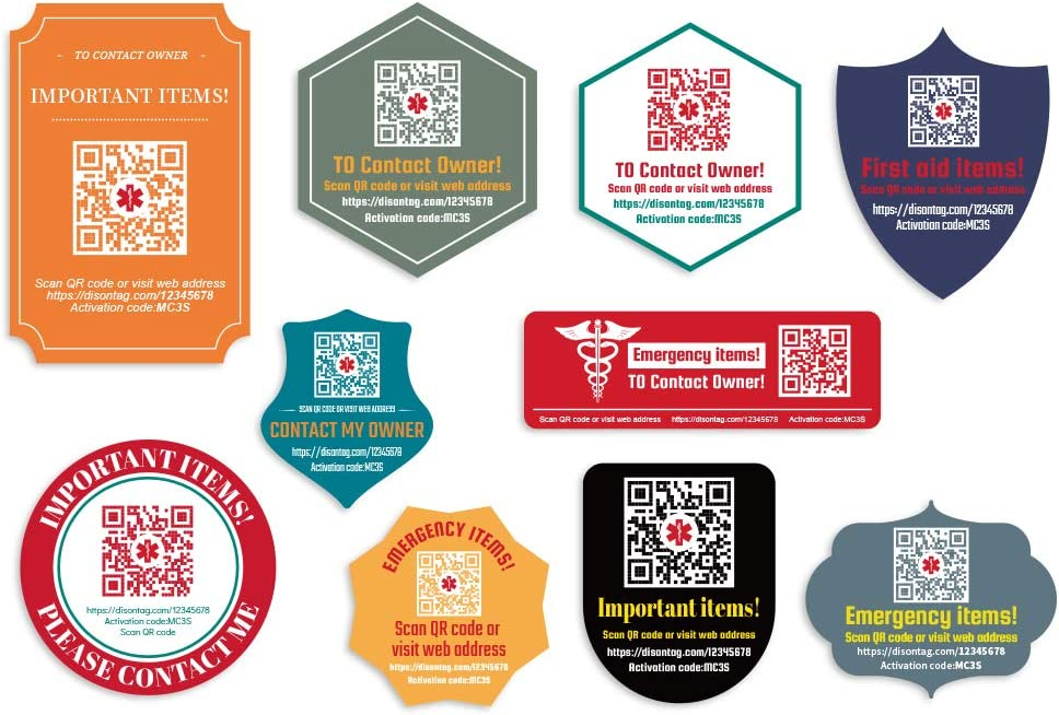 DISONTAG Medical Alert Tag ID Stickers,QR Code Stickers,Save Important Medical Information Modified