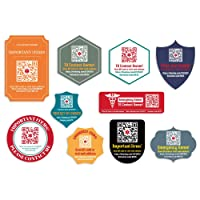 DISONTAG Medical Alert Tag ID Stickers,QR Code Stickers,Save Important Medical Information|Modified
