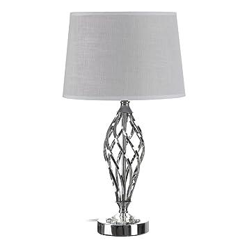 Lámpara de sobremesa de Metal Plateada Vintage para salón ...