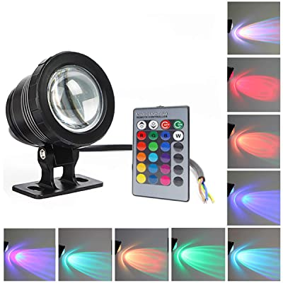 GOESWELL Underwater Light LED Waterproof Flood Light with Remote Control 10w DC12v RGB 16Colors Outdoor Garden Spotlight Landscape Fountain Pond Light Submersible : Garden & Outdoor