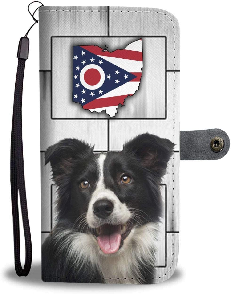 Cute Border Collie Printed Leather Wallet Case for Samsung, iPhone, LG, Goole Pixel, Huawei, HTC, Motorola, Xiaomi- Dog Printed Magnetic flip Cover with Card Slots Wrist Strap- Ohio State