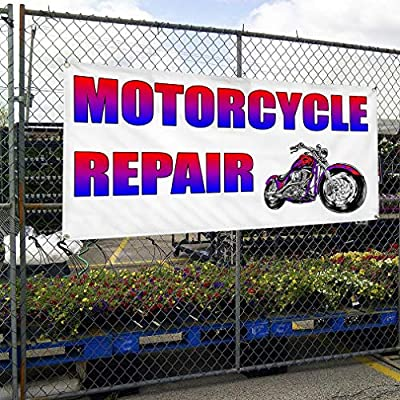 2x4 MOTORCYCLE REPAIR Red with White Copy Banner Sign NEW
