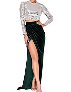 c1135cf6f7c778 UONBOX Women s Long Sleeve Sequin Top and Velvet Split Maxi Skirt 2 Pcs  Cocktail Party Outfit