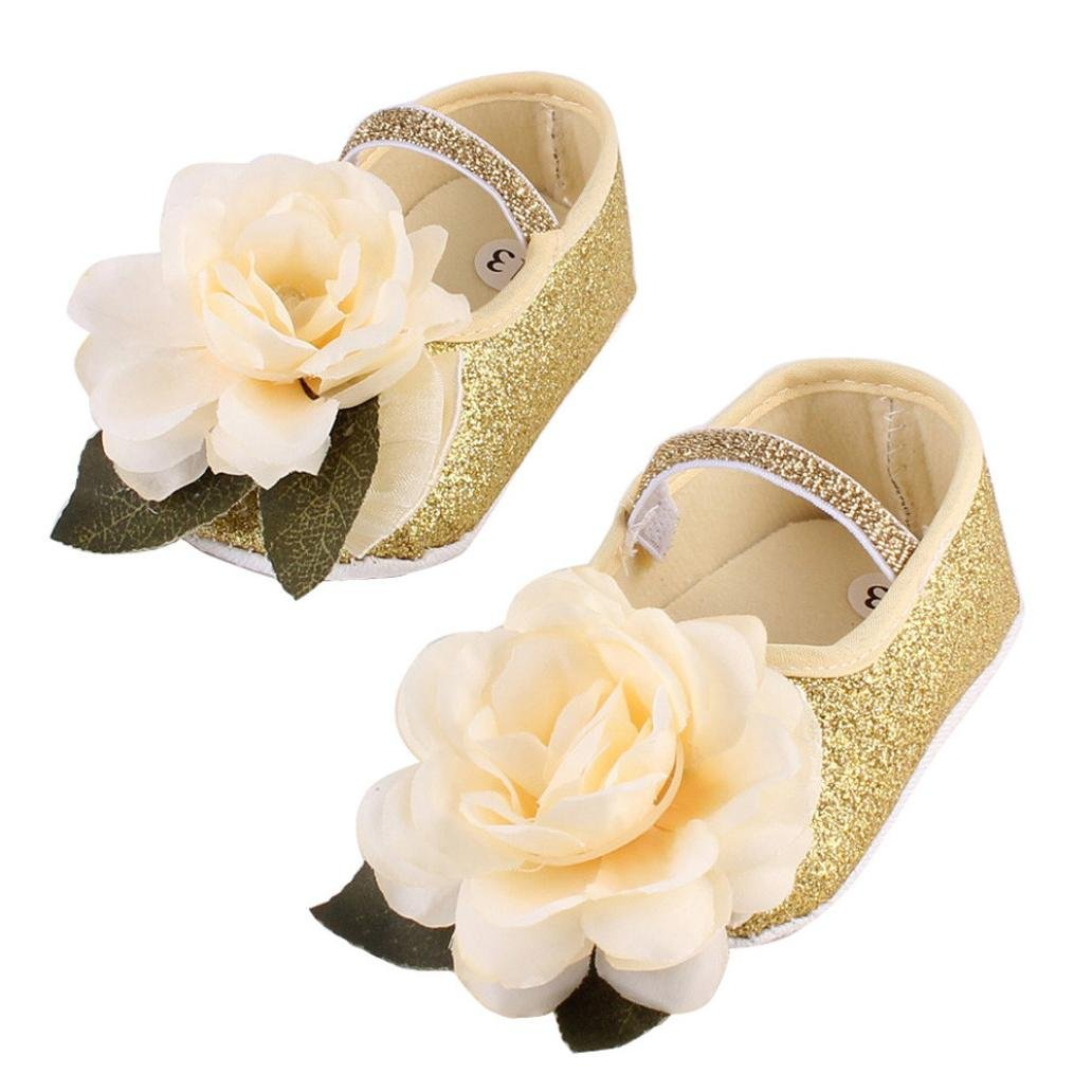 41fab5519cd0 Amazon.com: Baby Shoes, Kintaz Baby Girl Infant Flower Sequins Mary Jane  Baptism Shoes Dance Ballerina Slippers + Hairband (Gold, Age:12~18 Month):  Health ...