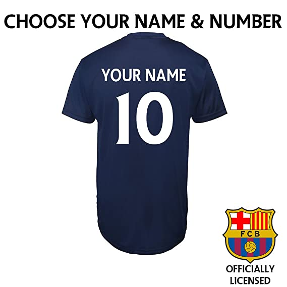 e3b74d54b9e Barcelona Adults Football Club Personalised T-shirt Custom printed Name &  Number - FCB Official Merchandise (XL): Amazon.co.uk: Sports & Outdoors